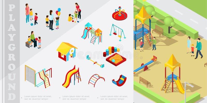 Composizione isometrica negli elementi del campo da giuoco dei bambini royalty illustrazione gratis