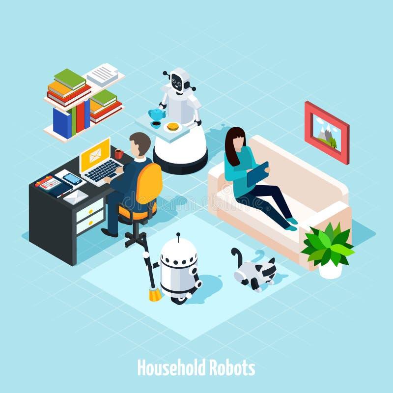 Composizione isometrica nei robot della famiglia royalty illustrazione gratis