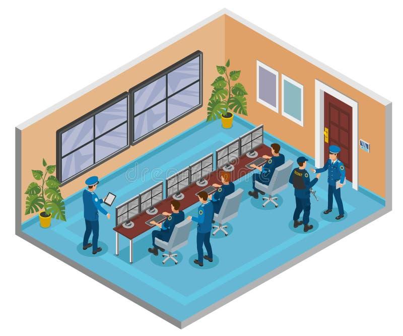 Composizione isometrica nei sistemi di sicurezza royalty illustrazione gratis
