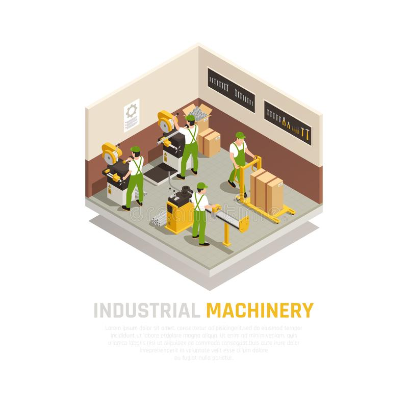 Composizione isometrica nel macchinario industriale illustrazione vettoriale