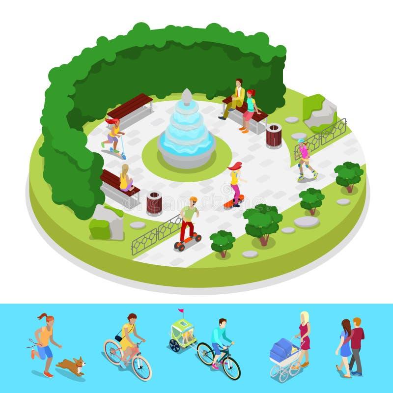 Composizione isometrica nel parco della città con la gente attiva e la fontana Attività esterna illustrazione vettoriale
