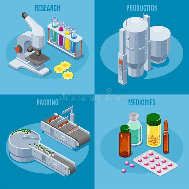 Composizione isometrica nel quadrato dell'industria farmaceutica illustrazione di stock