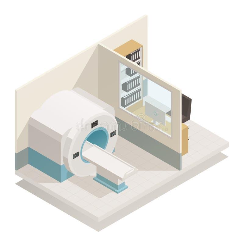 Composizione isometrica nell'attrezzatura diagnostica medica illustrazione di stock