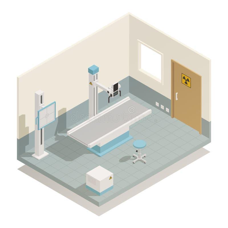 Composizione isometrica nell'attrezzatura medica dall'ospedale illustrazione vettoriale