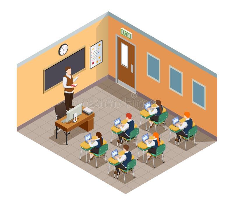 Composizione isometrica nella stanza di classe royalty illustrazione gratis