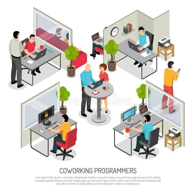 Composizione isometrica nello spazio di Coworking dei programmatori royalty illustrazione gratis