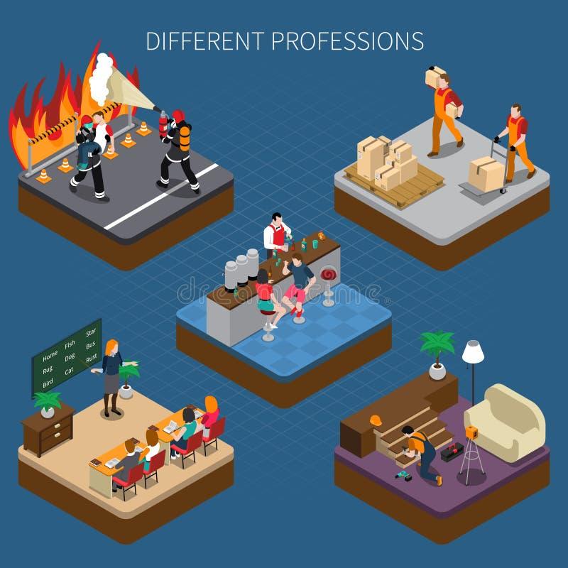 Composizione isometrica in professioni moderne illustrazione vettoriale