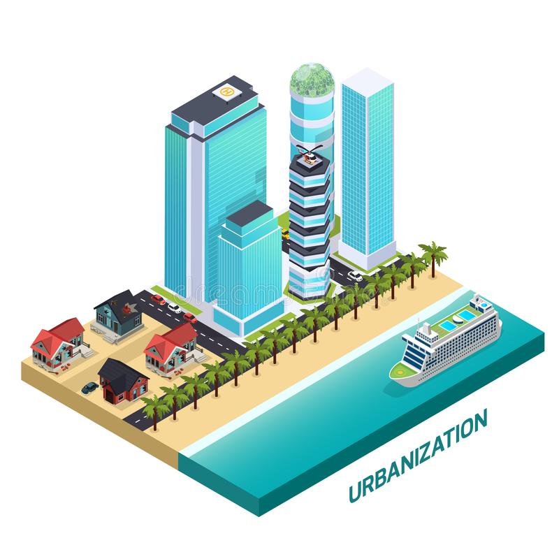 Composizione isometrica in urbanizzazione illustrazione vettoriale