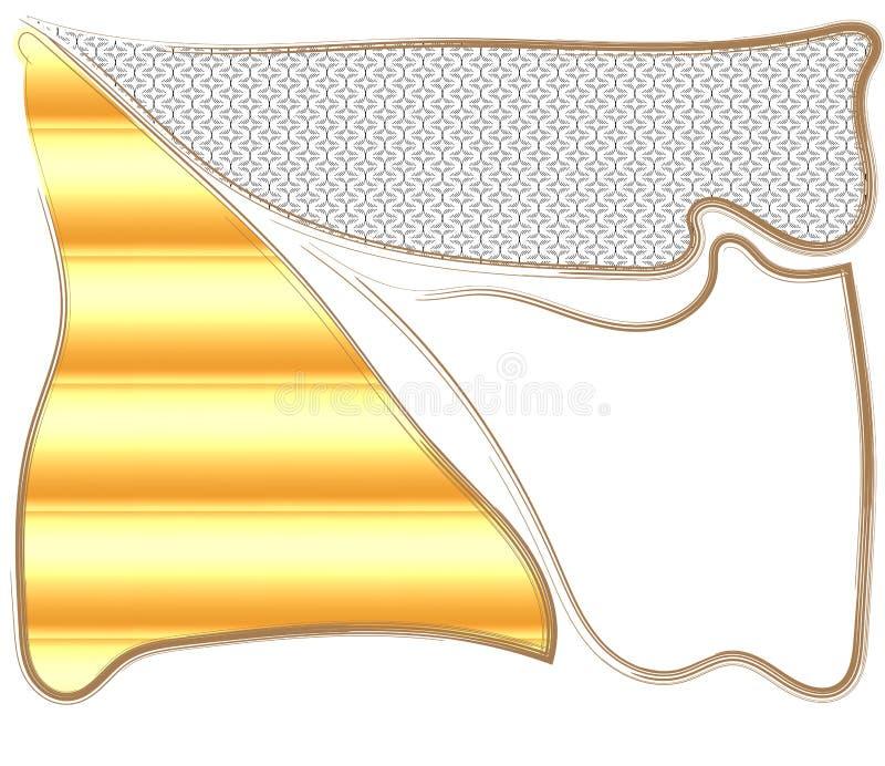 Composizione lacerata nella struttura dall'ornamento in bianco e nero, dal fondo di gomma giallo e dalla struttura vuota royalty illustrazione gratis
