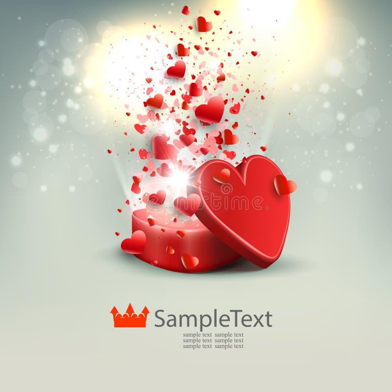 Composizione leggera con una scatola rossa, molti cuori e scintillio, royalty illustrazione gratis