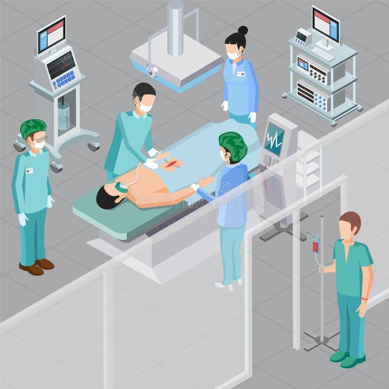 Composizione medica nell'attrezzatura della chirurgia illustrazione di stock
