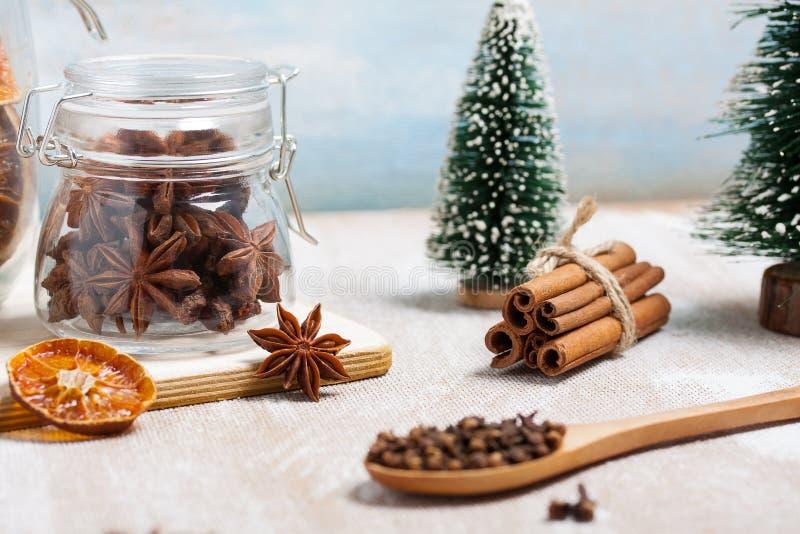 Composizione in Natale con anice stellato, cannella ed i chiodi di garofano asciutti immagini stock