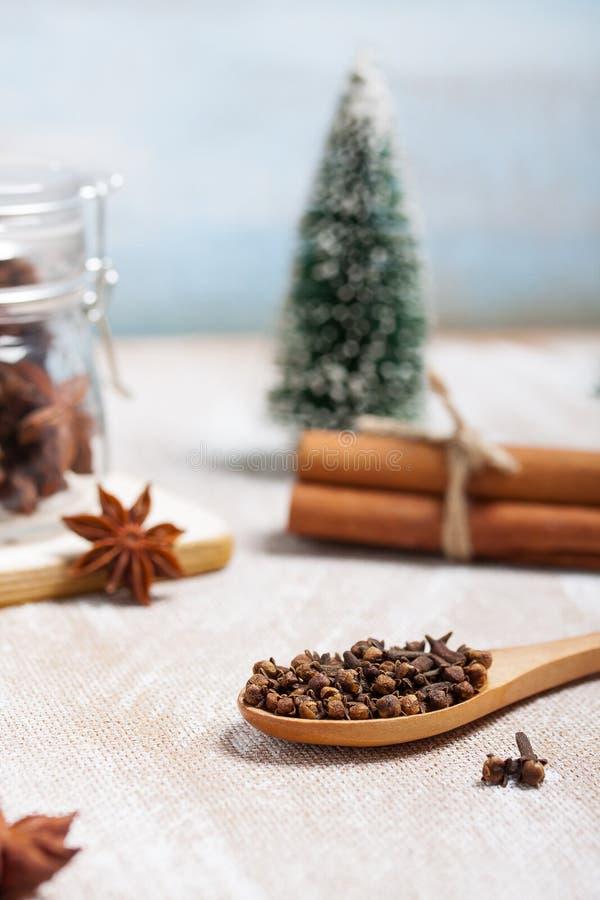 Composizione in Natale con anice stellato, cannella ed i chiodi di garofano asciutti immagine stock libera da diritti
