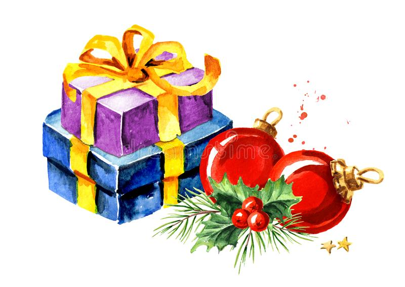 Composizione in Natale con il contenitore di regalo, il ramo dell'abete e la palla rossa Illustrazione disegnata a mano dell'acqu royalty illustrazione gratis