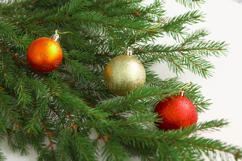 Composizione in Natale con il contenitore e le decorazioni di regalo fotografia stock