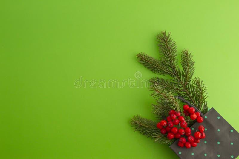 Composizione in Natale con il sacchetto della spesa, il ramo di albero dell'abete e le bacche di sorbo sul fondo della pianta Vis fotografia stock libera da diritti