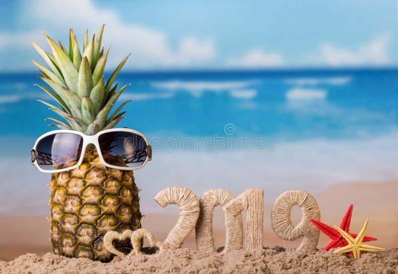 Composizione in Natale con l'iscrizione 2019 e l'ananas con i vetri su fondo del mare immagini stock libere da diritti