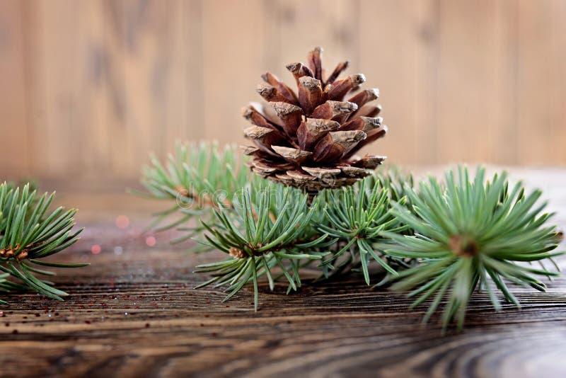 Composizione in Natale dai rami dell'abete rosso e dei coni sull'corteggiare fotografia stock