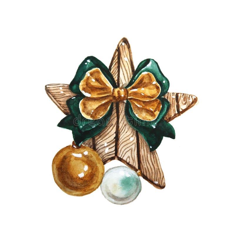 Composizione in natale dell'acquerello Decorazioni di Natale della stella di legno con il grande arco e palle di vetro, elementi  illustrazione di stock