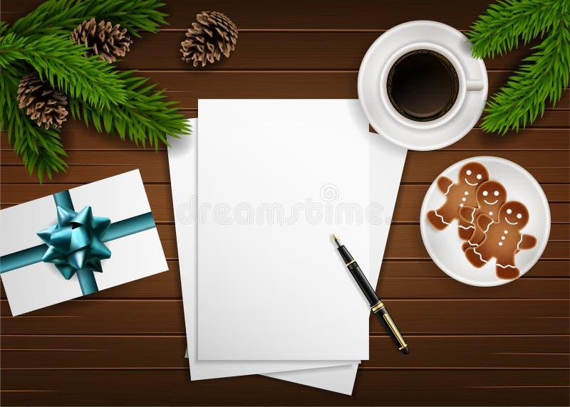 Composizione in Natale di vettore sulla tavola di legno royalty illustrazione gratis