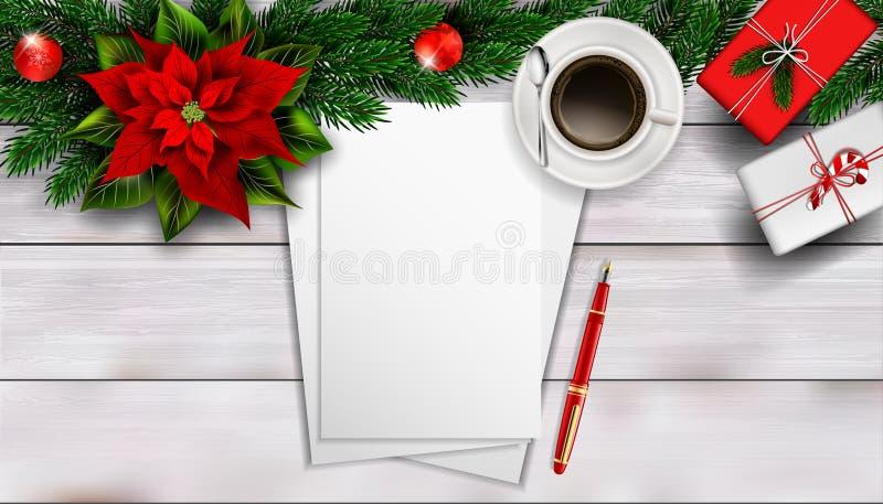 Composizione in Natale sulla tavola di legno bianca con il peper in bianco del pezzo per testo royalty illustrazione gratis