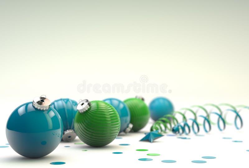 Composizione nel buon anno con la decorazione bianca del giocattolo illustrazione vettoriale