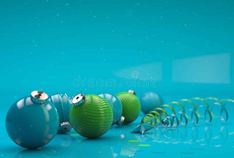 Composizione nel buon anno con la decorazione verde del giocattolo illustrazione di stock