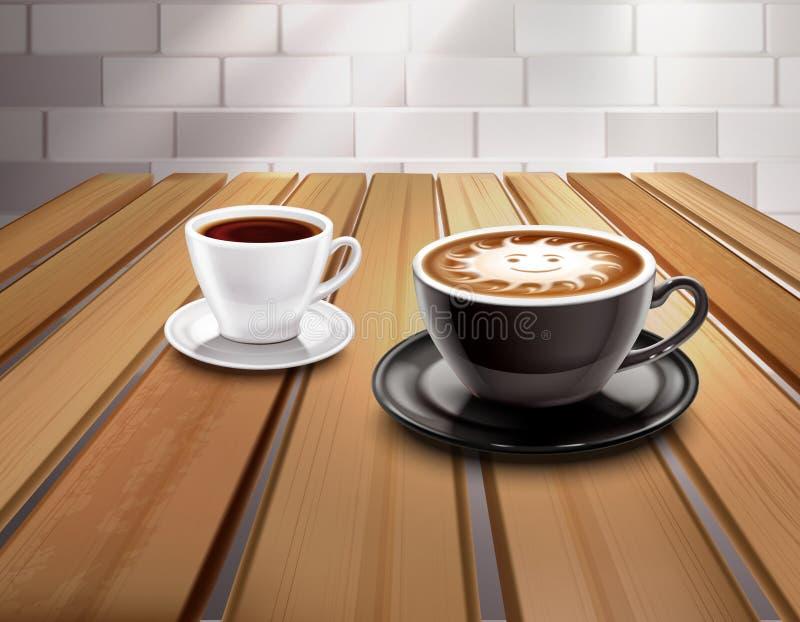 Composizione nel caffè del cappuccino e del caffè espresso royalty illustrazione gratis