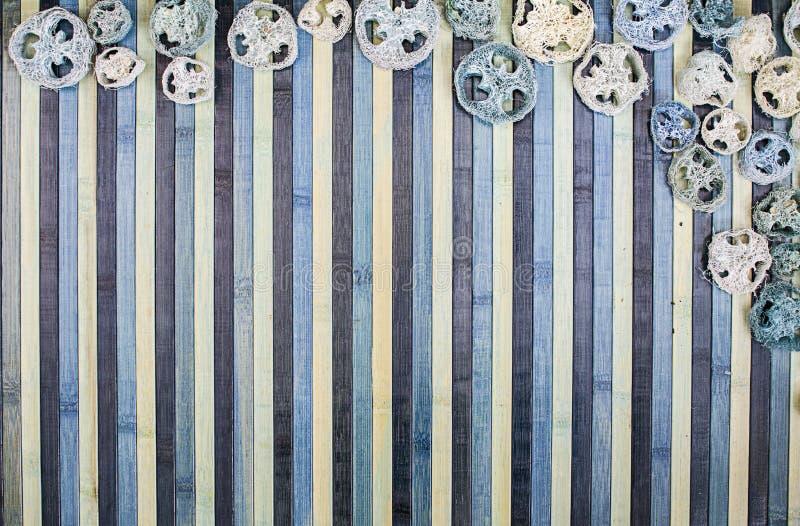 Composizione nel fondo su legno in tonalità di blu-chiaro e di blu con un contorno di corrispondenza dei potpourri fotografie stock libere da diritti