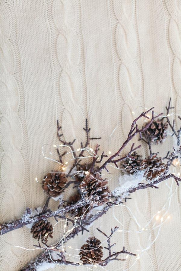 Composizione nel nuovo anno ed in Natale Chiuda sui rami della neve con i coni e sulla ghirlanda su fondo bianco tricottato fotografie stock libere da diritti