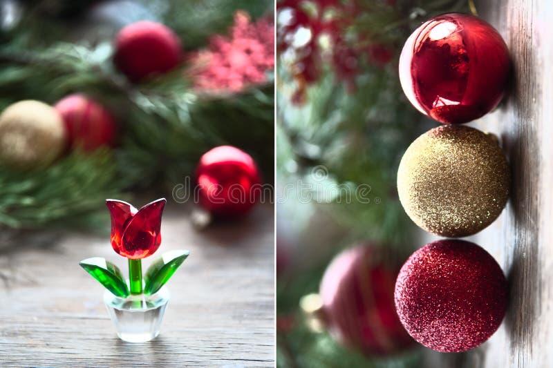 Composizione nel `s di nuovo anno Palle di cristallo rosse di natale e del fiore La nascita di un nuovo diptych immagini stock libere da diritti