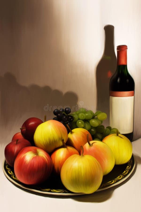 Composizione nel vino e nella frutta immagini stock