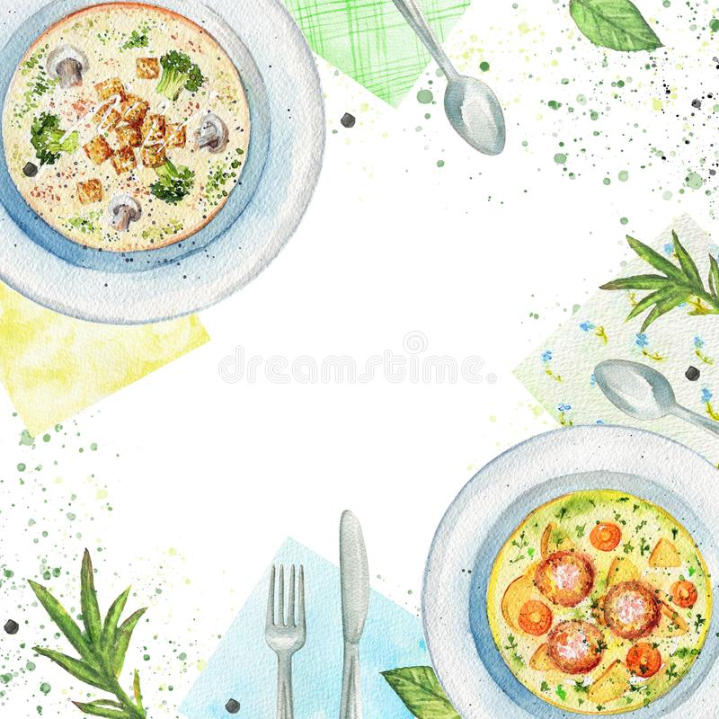 Composizione nell'acquerello con le minestre, i tovaglioli, le verdure e la tavola royalty illustrazione gratis