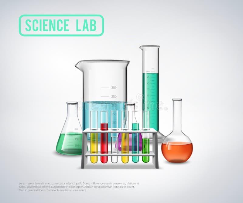 Composizione nell'attrezzatura di laboratorio di scienza royalty illustrazione gratis