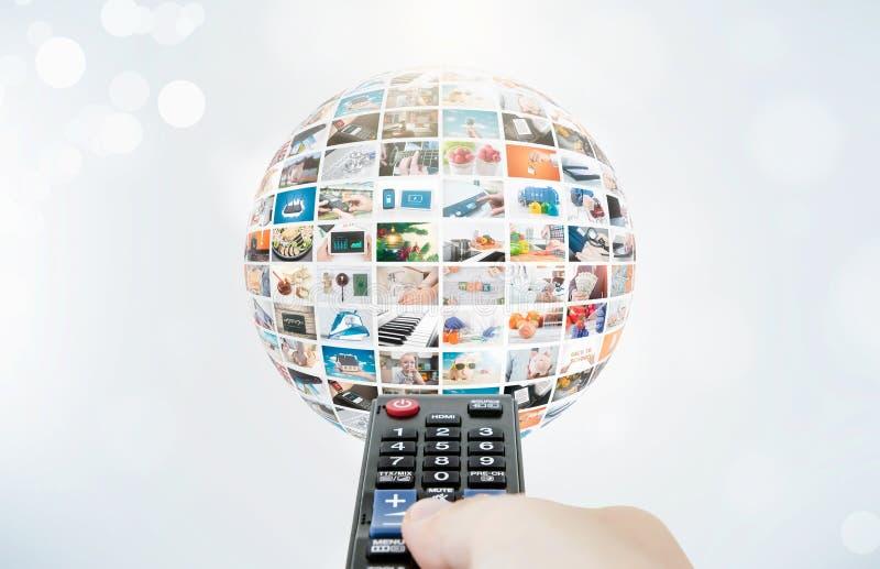 Composizione nell'estratto della sfera di multimedia di radiodiffusione della televisione fotografie stock libere da diritti
