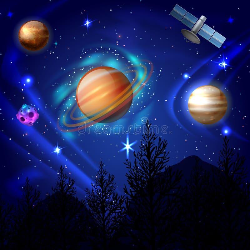Composizione nell'universo del cielo notturno illustrazione vettoriale