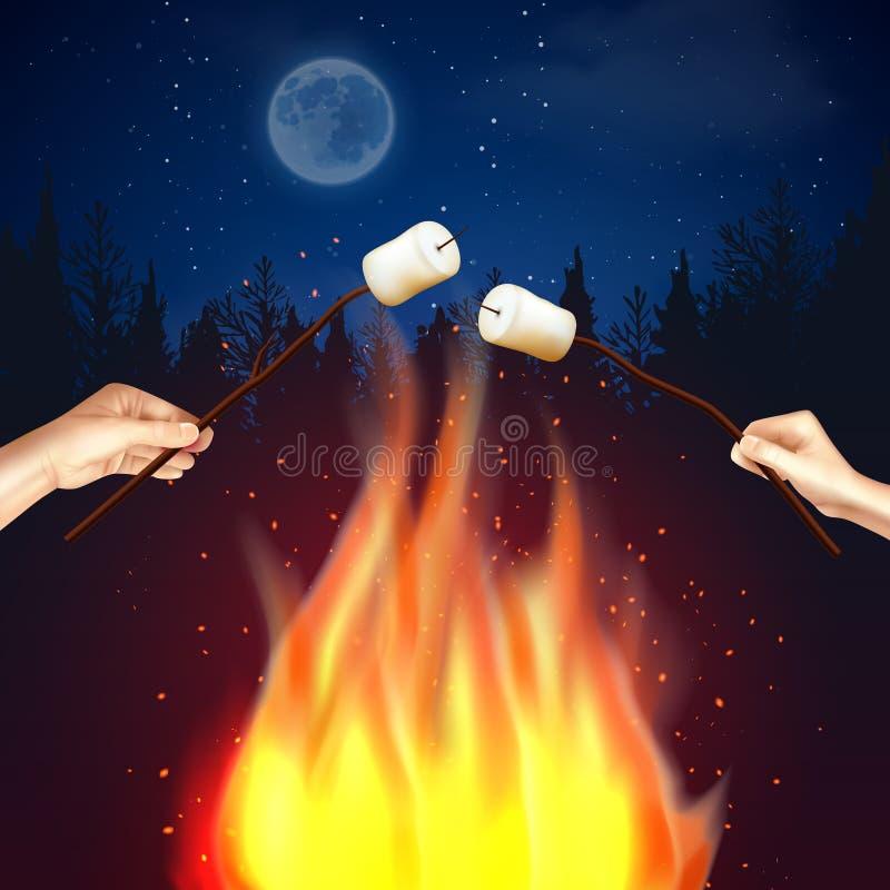 Composizione nella caramella gommosa e molle del fuoco del campo royalty illustrazione gratis