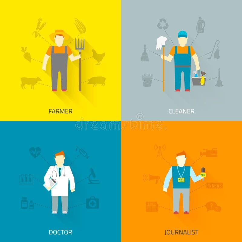 Composizione nelle icone dei caratteri 4x4 di professione piana illustrazione di stock
