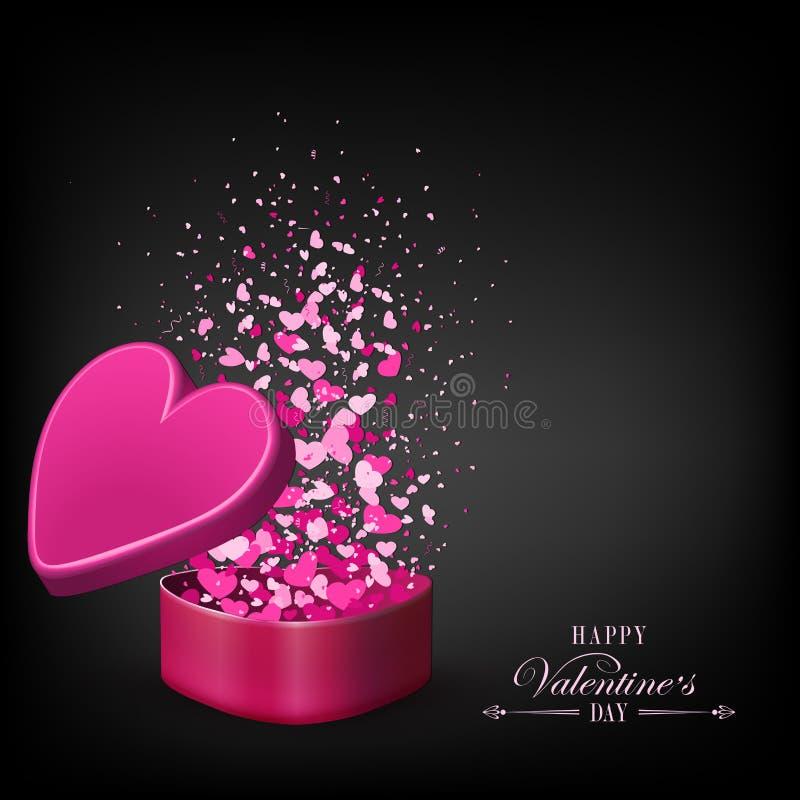Composizione nera con una scatola rosa ed i lotti dei cuori royalty illustrazione gratis