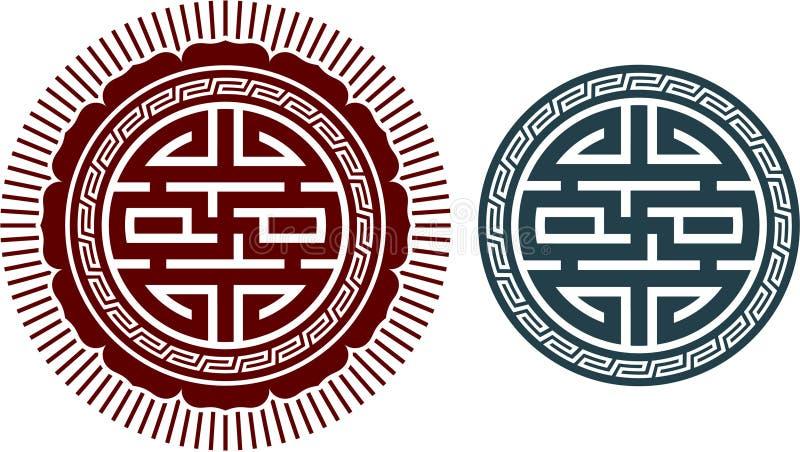 Composizione orientale nella svastica illustrazione vettoriale
