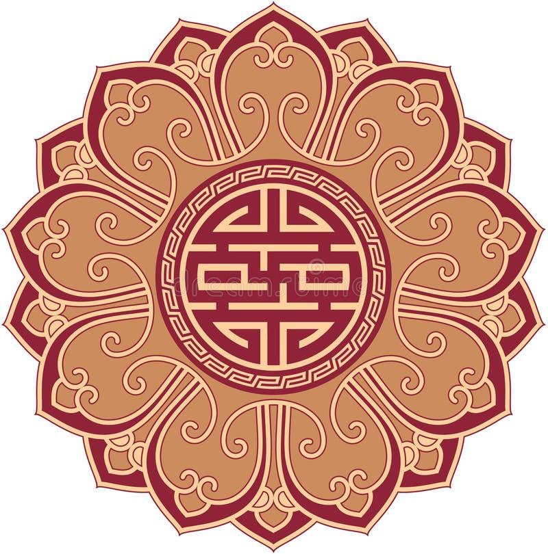Composizione orientale nella svastica del fiore illustrazione di stock