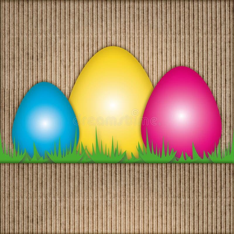 Composizione in Pasqua, uova, cartone riciclato immagini stock libere da diritti
