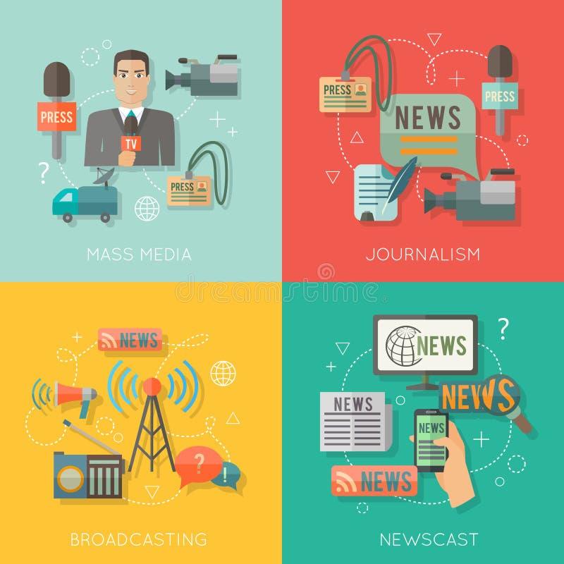 Composizione piana in affari di concetto di mass media illustrazione vettoriale