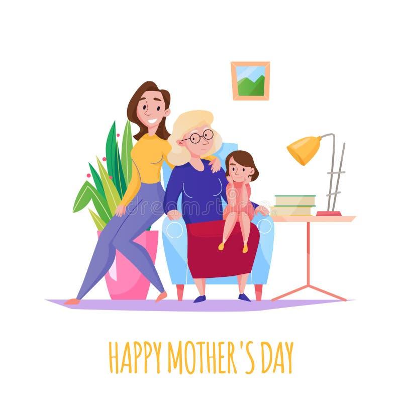 Composizione piana in giorno di madre illustrazione vettoriale