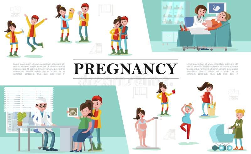 Composizione piana in gravidanza royalty illustrazione gratis