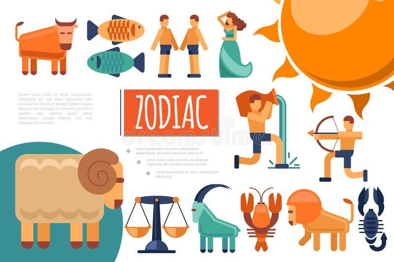 Composizione piana nei segni dello zodiaco illustrazione vettoriale