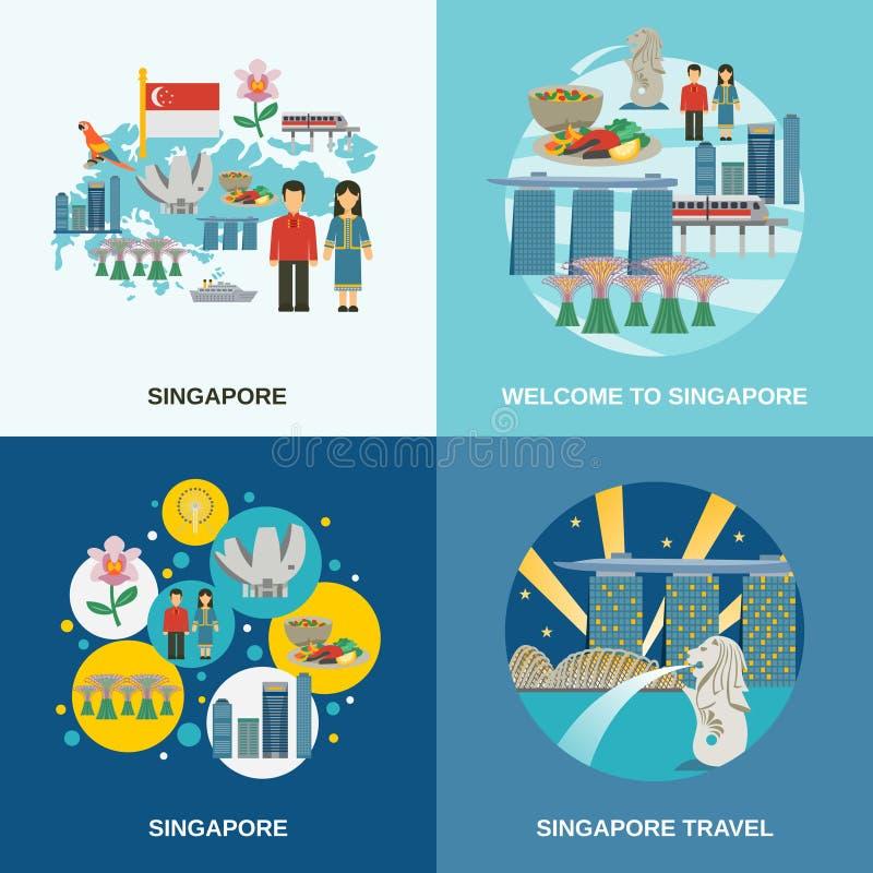 Composizione piana nelle icone della cultura 4 di Singapore illustrazione vettoriale