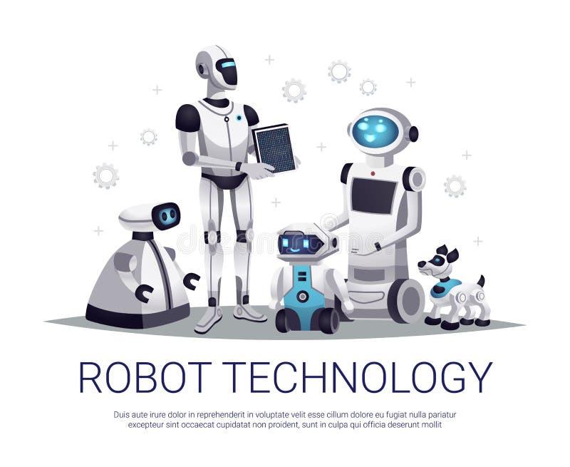 Composizione piana in tecnologia del robot illustrazione di stock