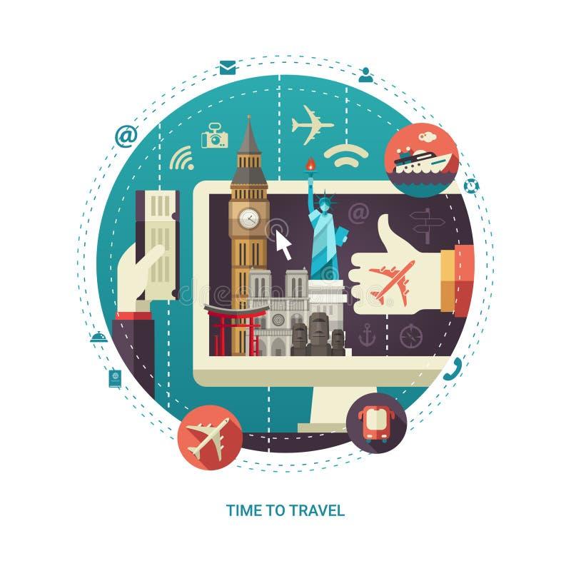 Composizione piana in viaggio di progettazione con i punti di riferimento di fama mondiale su esposizione royalty illustrazione gratis