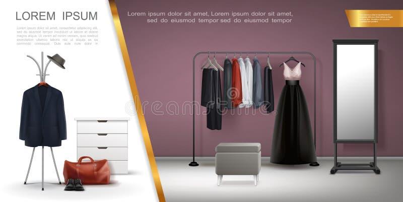 Composizione realistica negli elementi della stanza del guardaroba illustrazione di stock